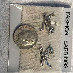 Vintage earrings Silver plated road runners